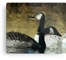 Canada Geese on the Water Abstract Impressionism Metal Print