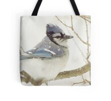 Snowy Blue Jay Tote Bag