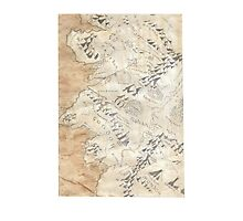 Lord Of The Rings Map - Hand Drawn Photographic Print
