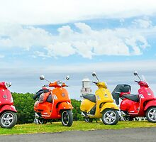 Vespas At The Lighthouse by Nancy Alford