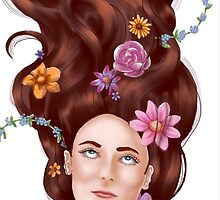 Girl with flowers in her hair  by Mstratton