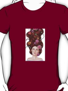 Girl with flowers in her hair  T-Shirt