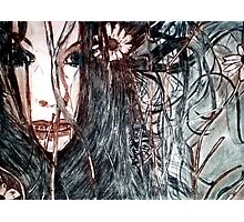 Wild Girl - Drypoint Etching Print Photographic Print