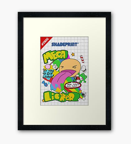 Mega Licker! [Cartridge Sleeve Art Work]. Framed Print
