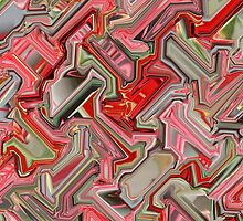 Red and Pink Cube  by ArtByAnnastasia