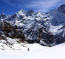 Hiker In Mountain Landscape by aidan  moran