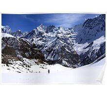 Hiker In Mountain Landscape Poster