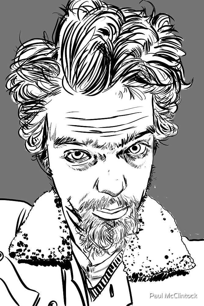 self portrait... goggly-eyed freak by Paul McClintock