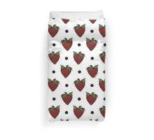 Strawberries and Black Polka Dots Duvet Cover