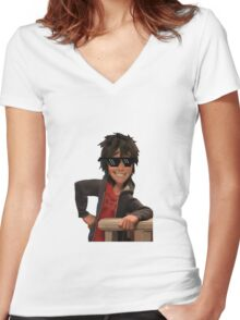 transparent hiro hamada with swag Women's Fitted V-Neck T-Shirt