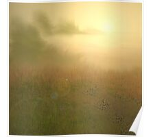 Sunset over misty Lake Poster
