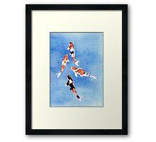 Floating Koi Blue Framed Print