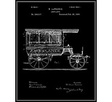 Vintage Ambulance Patent - Black Photographic Print