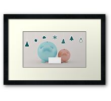 two different piggy bank with christmas decoration Framed Print