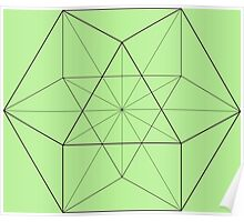 Cube Octahedron Green Poster