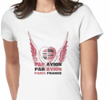 Heart Wings Paris Par Avion Series Womens Fitted T-Shirt