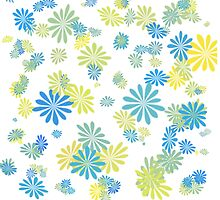 lovely blue, grey, green, yellow  graphic flowers. by prettypatterns