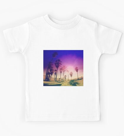 Colorful Palm Trees on a Beach Kids Tee