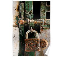 Green padlock with envy Poster