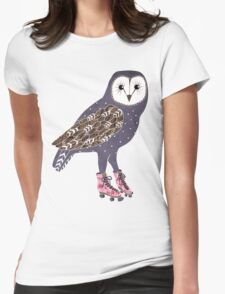 I skate OWL night long Womens Fitted T-Shirt