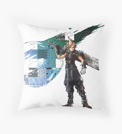 Cloud Strife Gridwork design & logo Throw Pillow