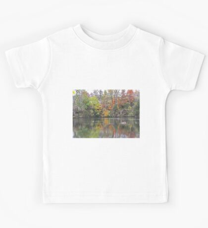 Gorgeous Autumn Scene Reflecting on Pond with Goose Kids Tee