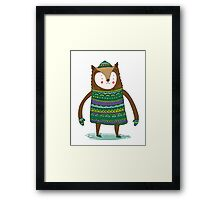Retro Winter Bear Framed Print