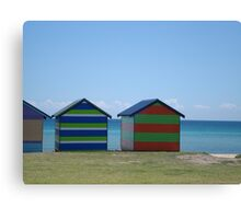 Beach Bathing Boxes Canvas Print