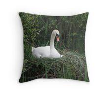 Swan on Nest  Throw Pillow