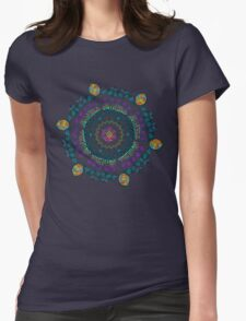 Ornamental Vibrant Floral Mandala Womens Fitted T-Shirt