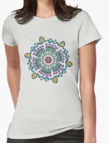 Ornamental Vibrant Floral Mandala Womens Fitted T-Shirt
