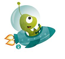 Cute Alien In A Spaceship by katelein