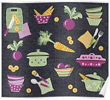 Cooking Veggie Pattern Poster