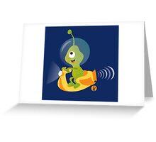 Cute alien in a spaceship vespa Greeting Card