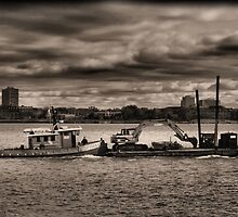 Tugboat And Ominous Sky by Barry W  King