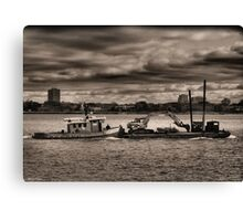Tugboat And Ominous Sky Canvas Print