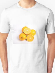 Whole and Half Oranges on White T-Shirt