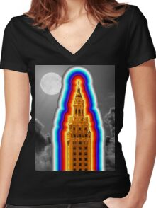 Miami Freedom Tower Cuban Liberty Downtown Brickell Women's Fitted V-Neck T-Shirt