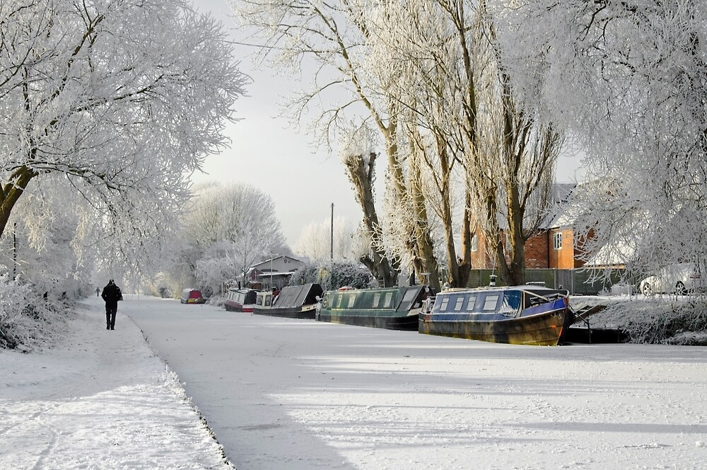 Boats on the Frozen Burton Canal by Rod Johnson