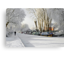 Boats on the Frozen Burton Canal Canvas Print
