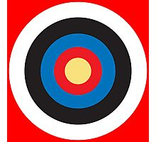 Bulls Eye, Right on Target, Roundel, Archery on Red Photographic Print