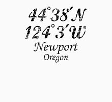 Newport, Oregon Coordinates Vintage Black Unisex T-Shirt