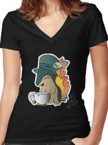 Tea Time Cyndaquil Women's Fitted V-Neck T-Shirt