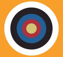 Bulls Eye, Right on Target, Roundel, Archery, on Orange by TOM HILL - Designer