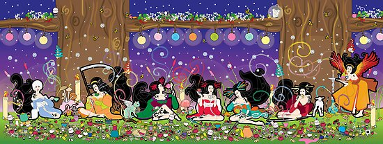 The Geisha Tea Party by thickblackoutline