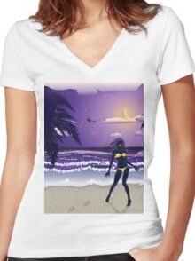 Happy woman on night beach Women's Fitted V-Neck T-Shirt