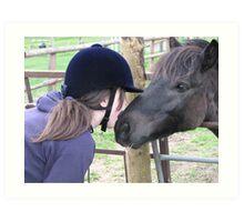 girl and her pony. Art Print