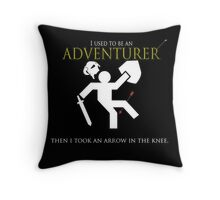 Adventurer with an arrow in the knew Throw Pillow