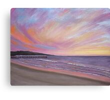 Sunset Pier Pastel Canvas Print