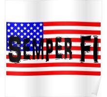 Semper Fi America Flag Poster